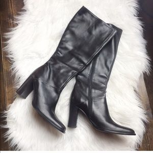 New J.Crew Leather Tall Heeled Boots